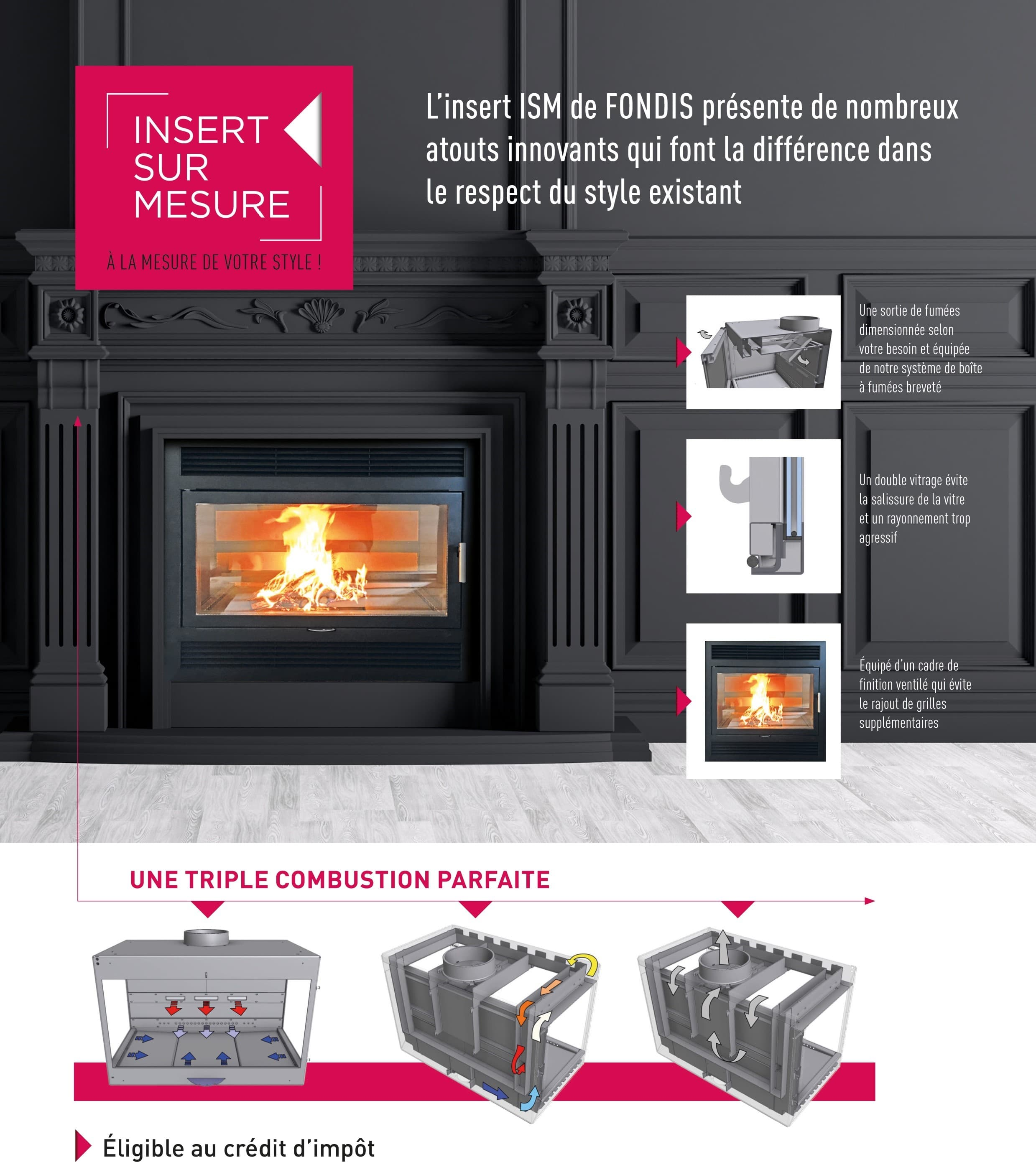 insert bois sur mesure ambiance confort eco. Black Bedroom Furniture Sets. Home Design Ideas